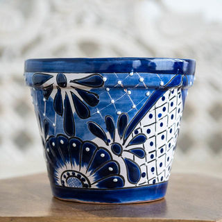 Mexican Pot Plant Holder Blue & White