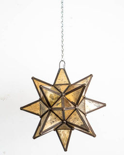 Mexican Gold Glass Star Lantern; Small