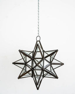 Mexican Clear Glass Star Lantern; Medium
