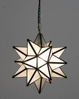 Mexican White Glass Star Lantern; Medium