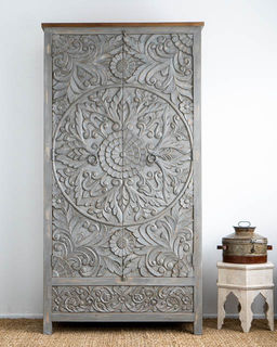 Large Hand Carved Mandala Wardrobe Grey