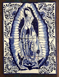Our Lady of Guadalupe Tile Mural Blue