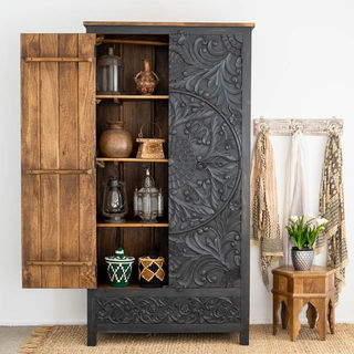 Large Hand Carved Mandala Wardrobe Charcoal