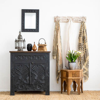 Majuli Hand Carved Sideboard Charcoal