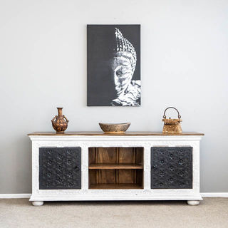 Aabha TV Cabinet or Sideboard White & Black