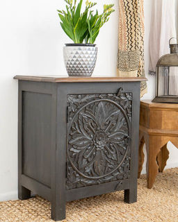 Mandala Side Table Charcoal