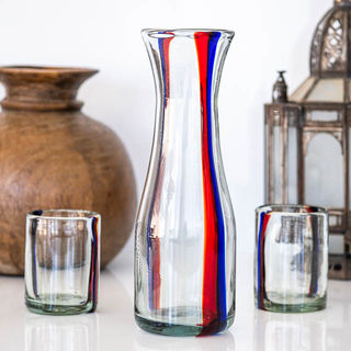 Indie Water Carafe Red & Blue