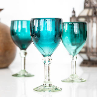 Teal Wine Glass