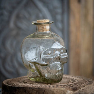 Handblown Skull Bottle
