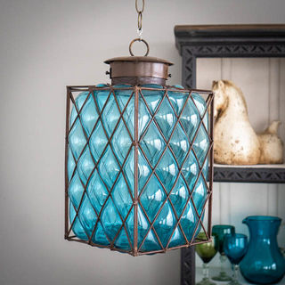Mexican Handblown Cube Lantern Blue