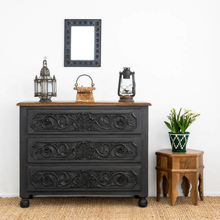 Hand Carved Boho Drawers Charcoal