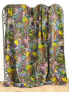 Acid Green Paisley Kantha Quilt