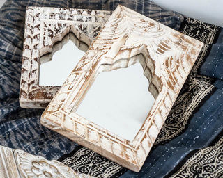 Small Hand Carved Mirror Whitewashed