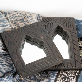 Small Hand Carved Mirror Black