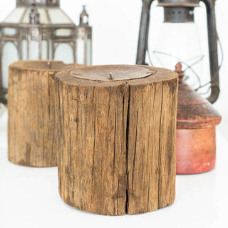 Rustic Log Candle Holder