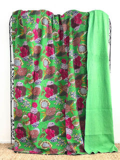 Tropical Kantha Quilt Lime Green