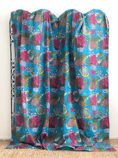 Tropical Kantha Quilt Sky Blue