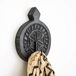 Hand Carved Round Wall Hook Black