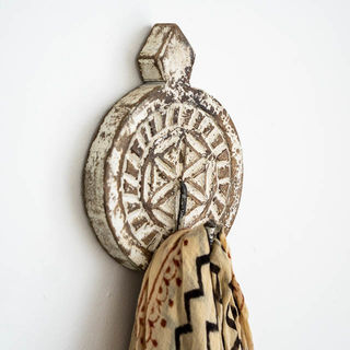 Hand Carved Round Wall Hook Brown