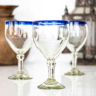 Traditional Blue Top Wine Glass