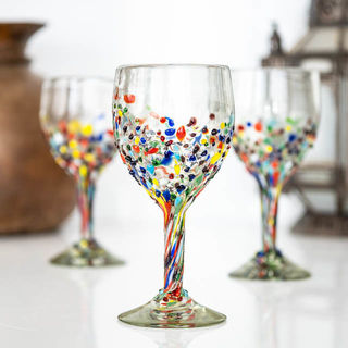 Half Confetti Wine Glass