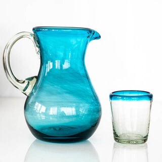 Turquoise Jug Set of 4 Turquoise Top Glasses