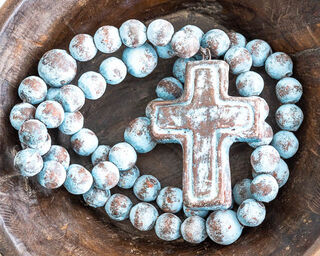Large Mexican Rosary Beads Blue