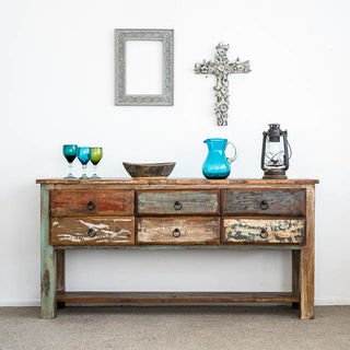 Rustic 6 Drawer Console