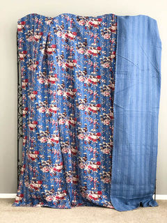 Boho Cottage Kantha Quilt Blue