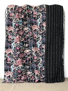 Vivid Dreams Kantha Quilt Black