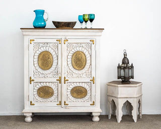 Maia Brass Sideboard White