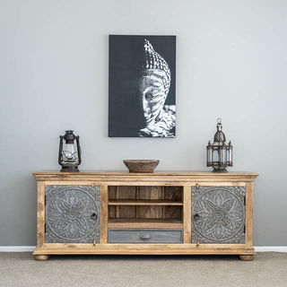 Goa TV Cabinet or Low Sideboard Natural/Grey