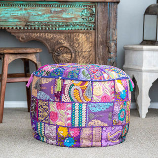 Indian Boho Pouf Purple