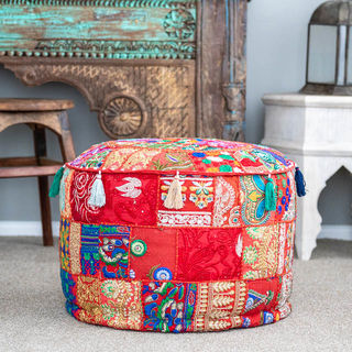 Indian Boho Pouf Red