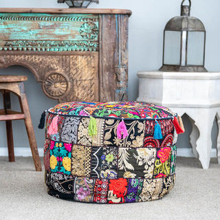 Indian Boho Pouf Black