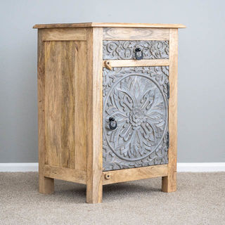 Goa Bedside Table Natuaral/Grey