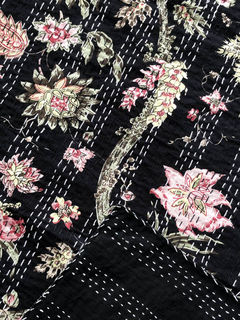 Boho Dreams Kantha Quilt Black