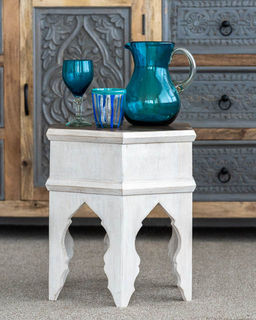Arabian Tea Table White with Natural Top