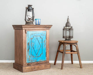 Rustic Blue Diamond Bedside Table
