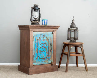 Rustic Blue Flower Bedside Table