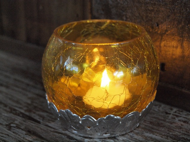 Crackled Tea Candle Holder:Yellow