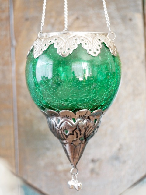 Boho Tea Candle Lantern: emerald