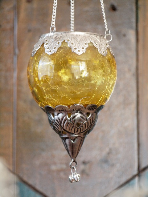Boho Tea Candle Lantern: yellow