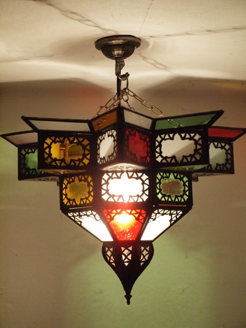 Moroccan Star Lantern: medium, coloured