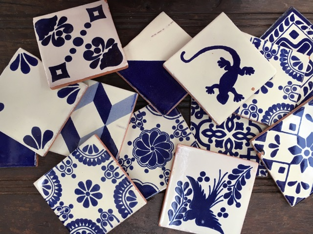 Blue & White 2nds Talavera Tiles: Mixed Pack of 10