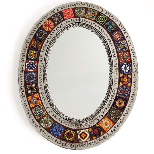Oval Mexican Tin & Tile Mirror: autumn
