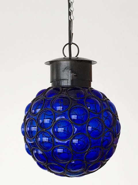 Mexican Handblown Lantern: Dark blue ball