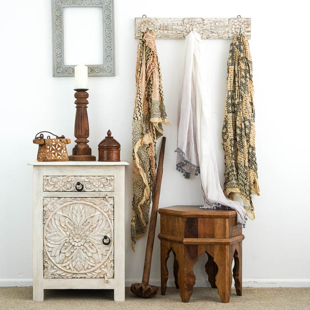 Bohemian Bedside Table Whitewash