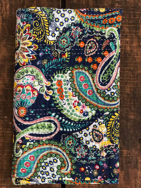 Navy Paisley Kantha Quilt