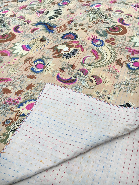 Dreams Kantha Quilt: Cream